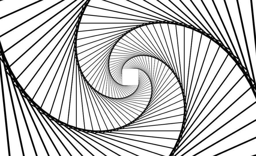 Inward spiraling lines