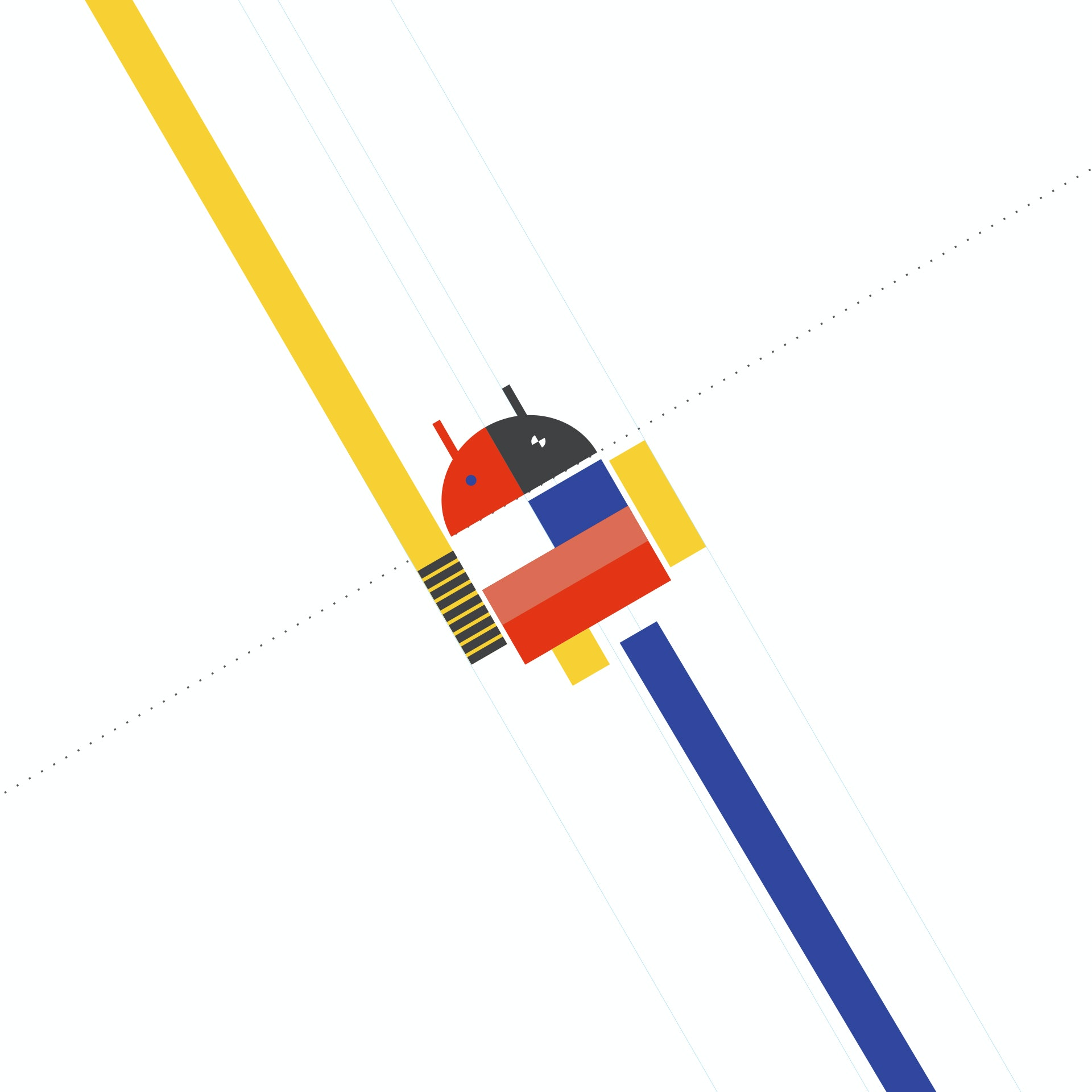 Android logo in Bauhaus design style