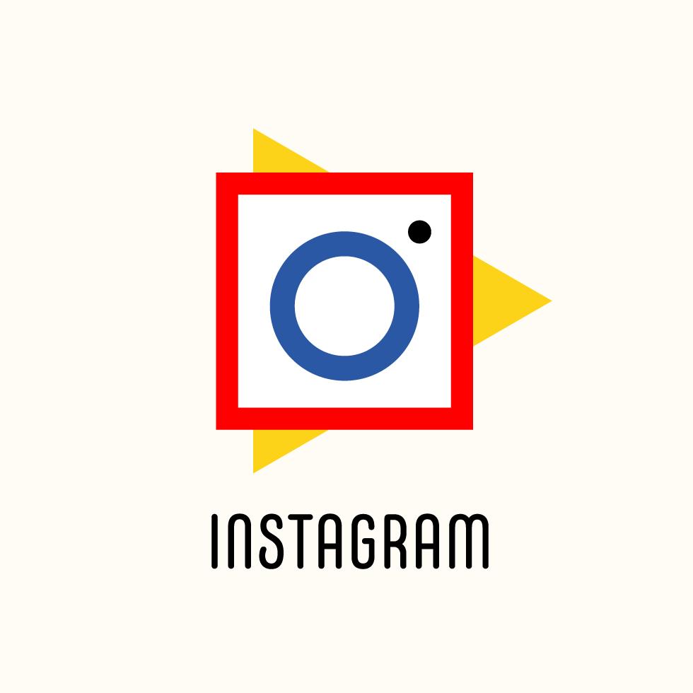 Instagram logo in Bauhaus design style