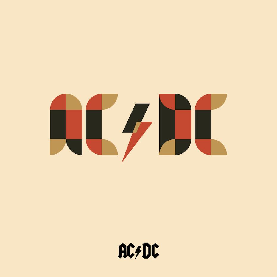 AC/DC logo in Bauhaus design style