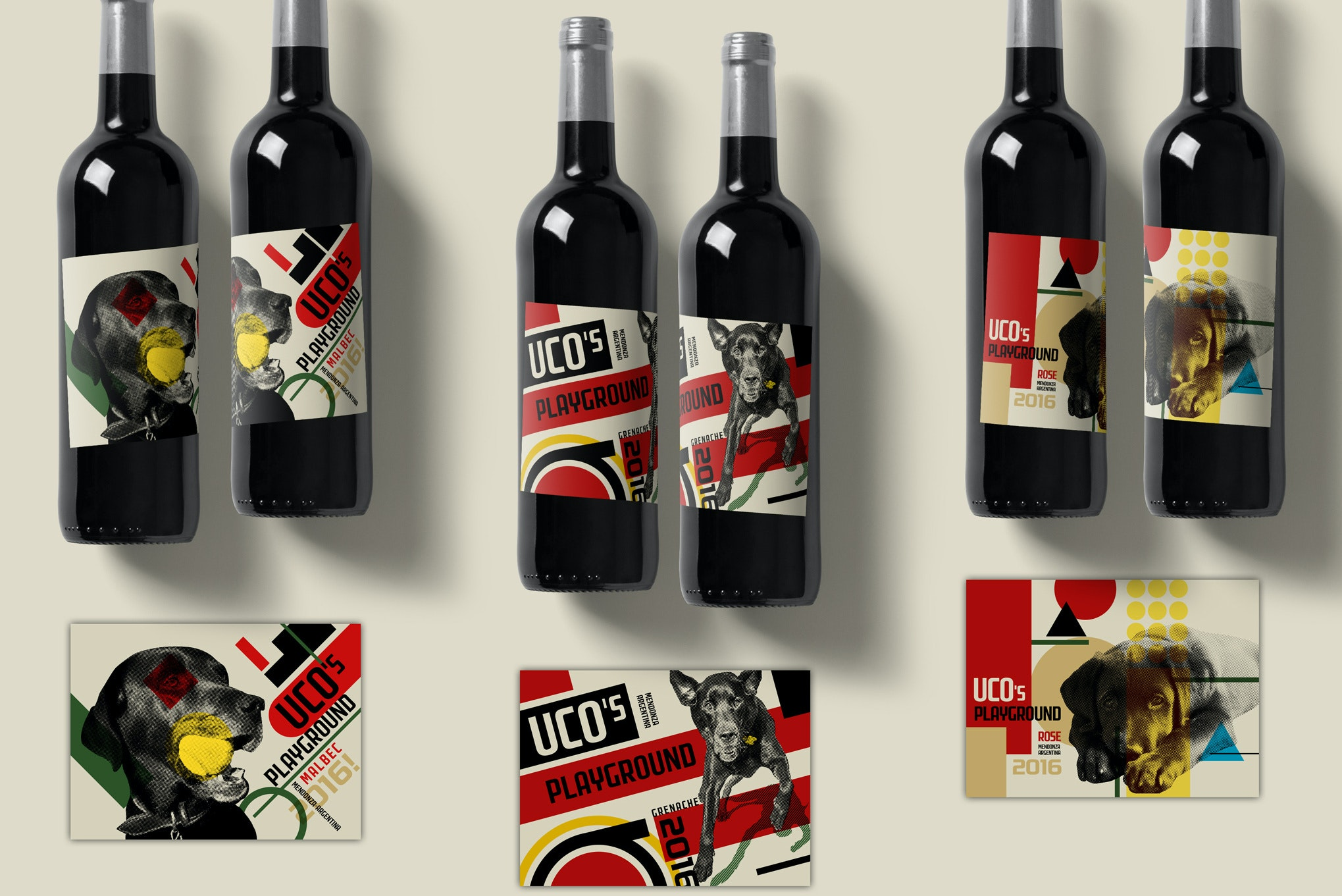 Product packaging with Bauhaus design for Uco's Playground Wine