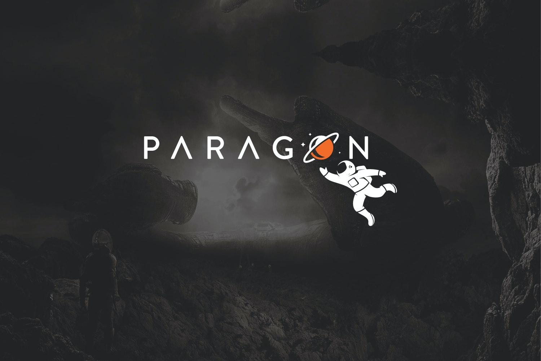 A futuristic logo featuring an astronaut
