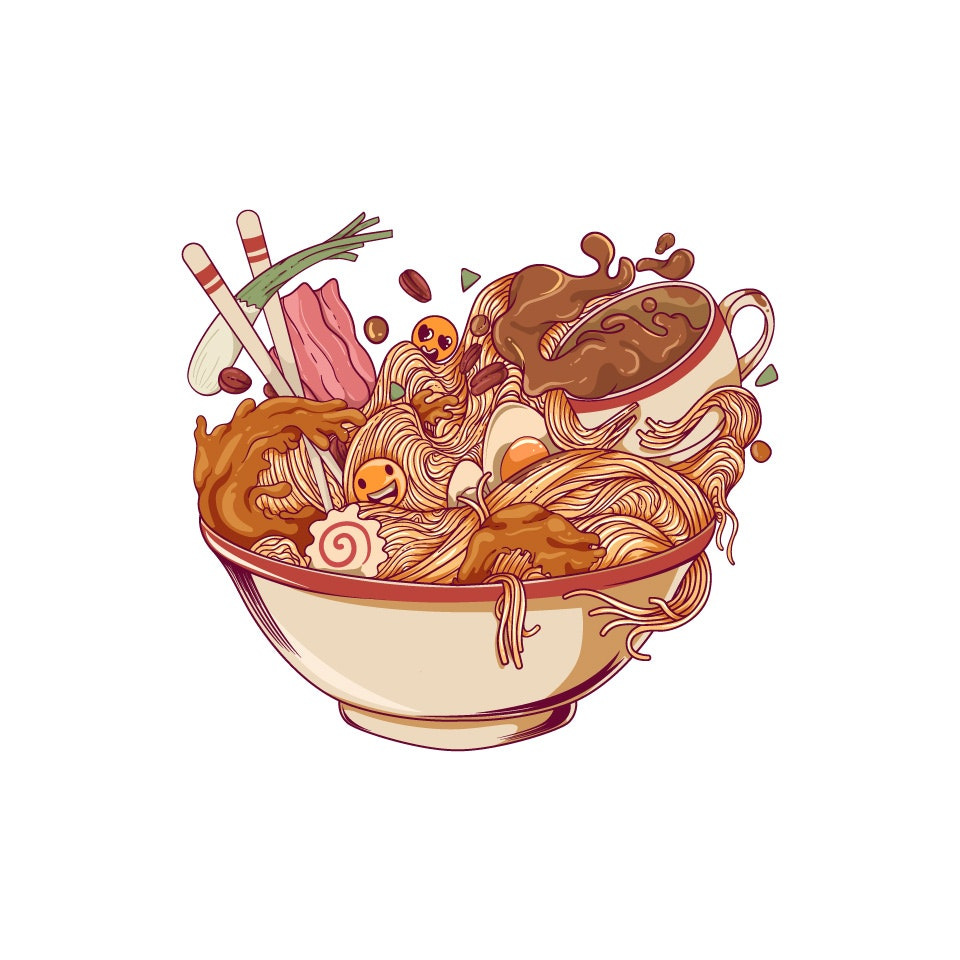 Ramen and Coffee illustration