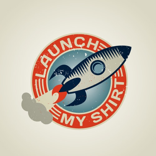 A retro-futuristic logo of a rocket
