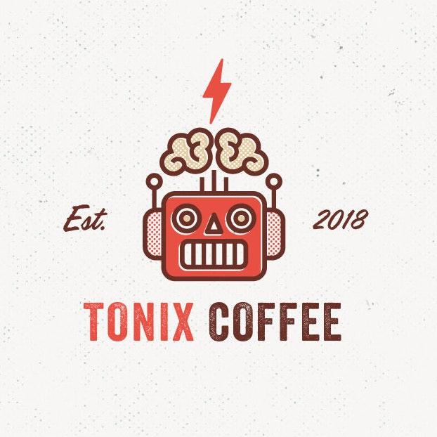 A retro-futuristic logo of a robot