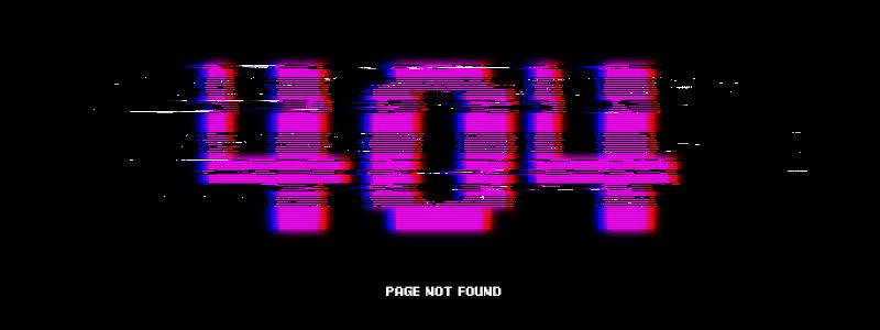 A glitch art 404 page