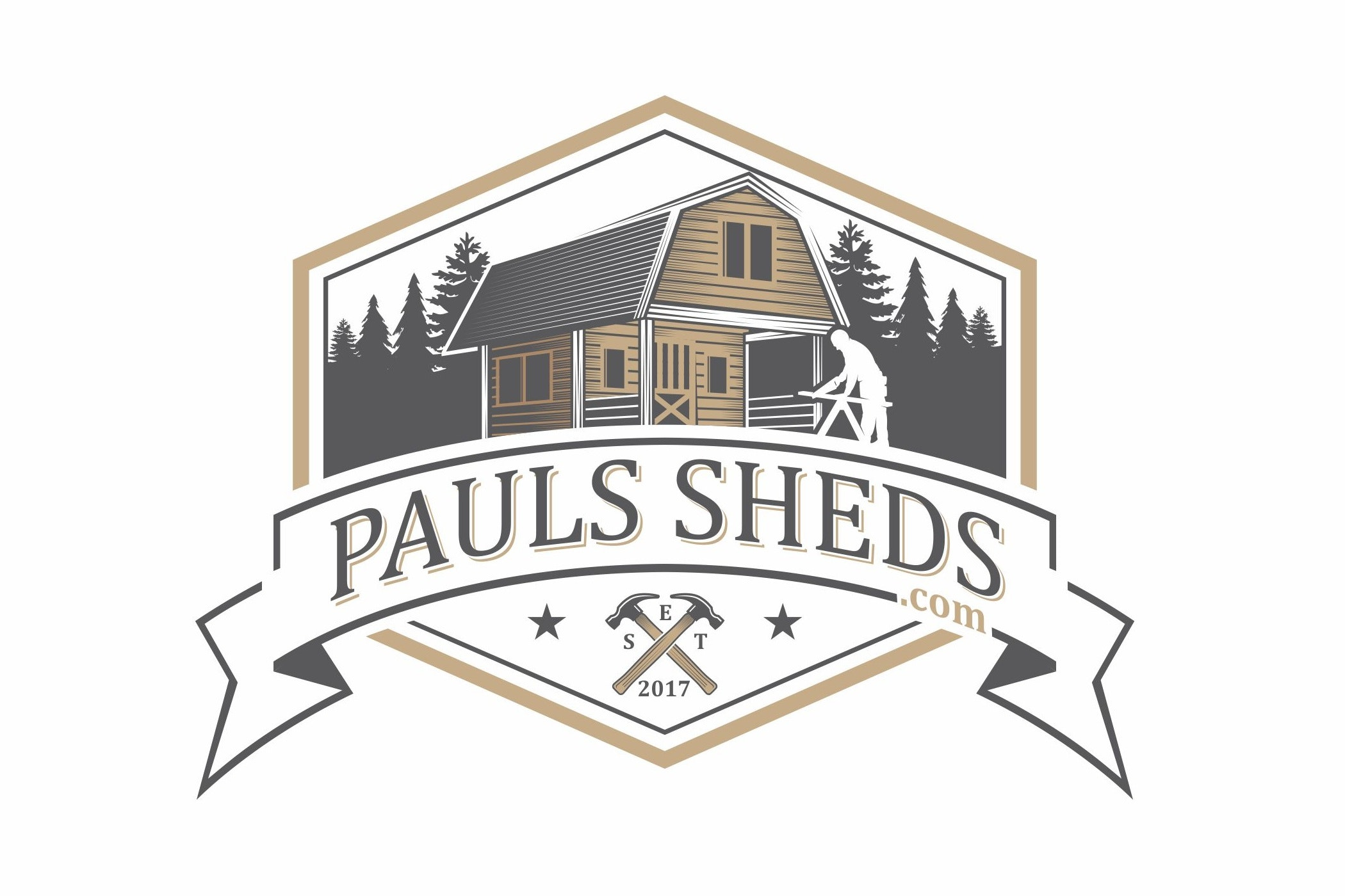 "image of a shed with the text ""pauls sheds.com"""