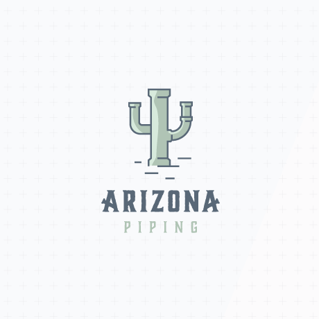 "drawing of a cactus made from pipes with the text ""arizona piping"""