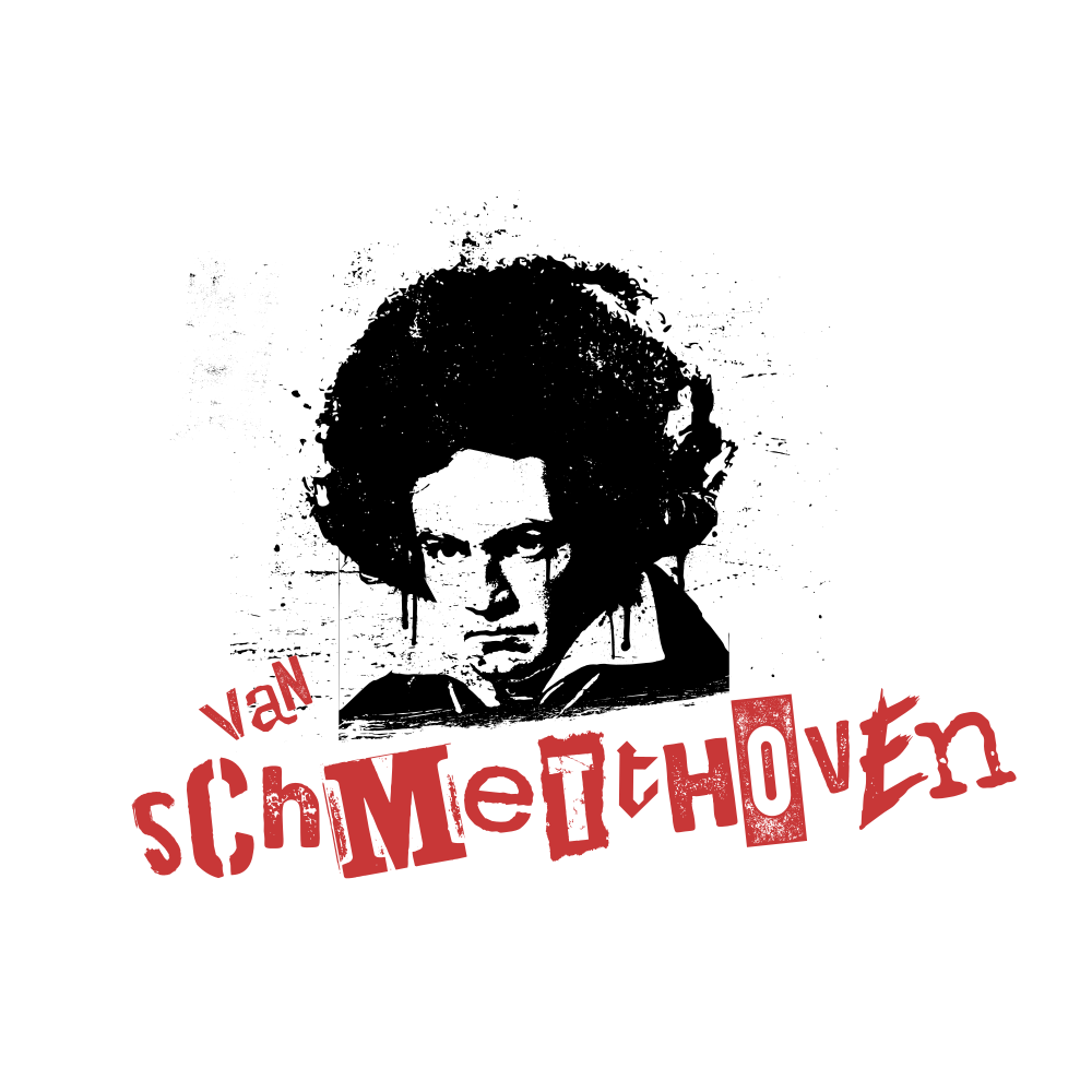 "stencil art-style image of Beethoven with an afro and the text ""van schmetthoven"""