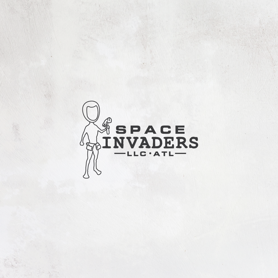 "line drawing of an alien with the text ""space invaders llc"""
