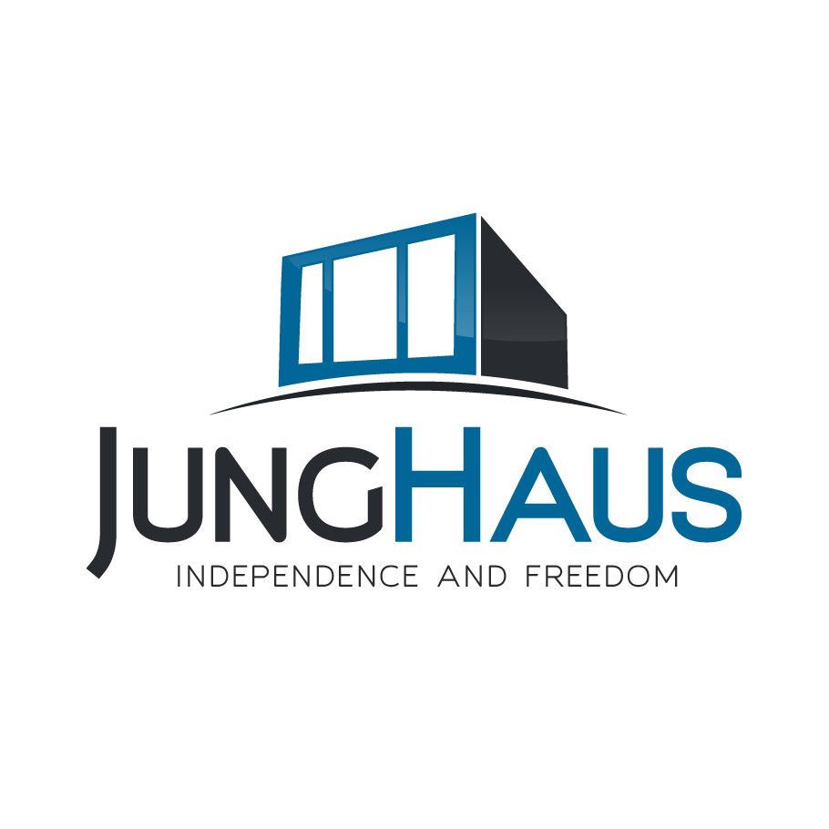 "square modern house with the text ""junghaus"""
