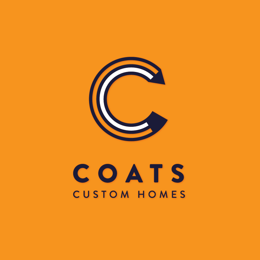 "pencil bent into a ""C"" shape with the text ""coats custom homes"""