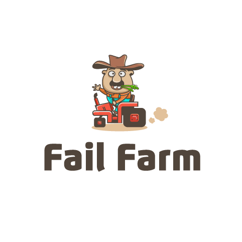 "cartoon farmer sitting on a tractor with the text ""fail farm"""