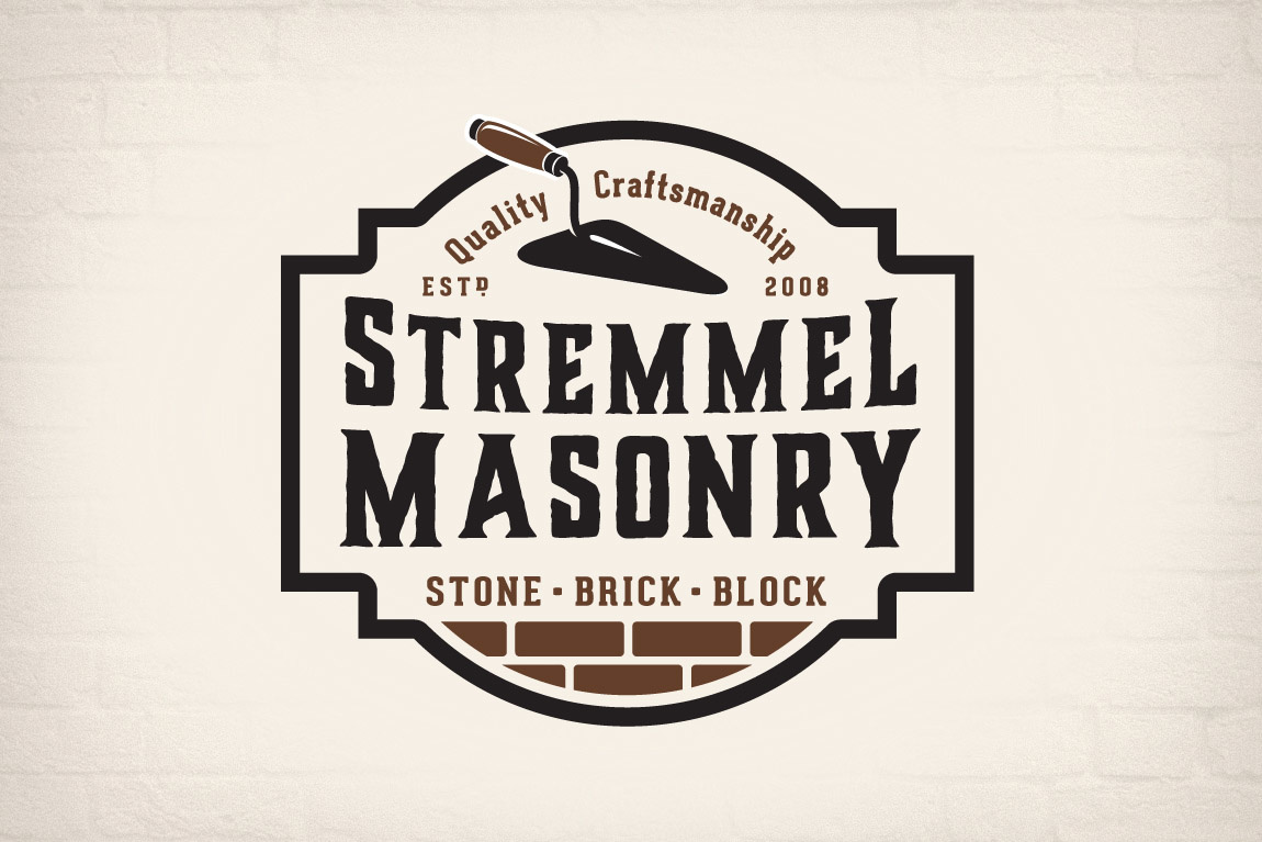 "logo with the text ""stremmel masonry"" with a spade and the top of a brick wall"
