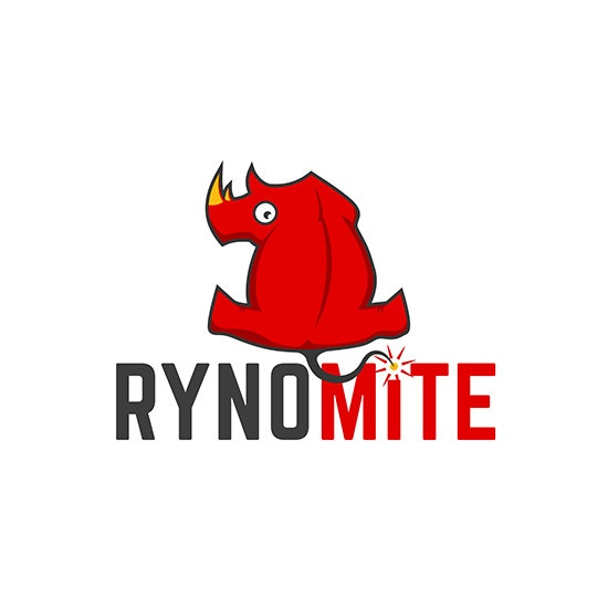 """red rhinocerous looking backward with the text """"rynomite"""""""