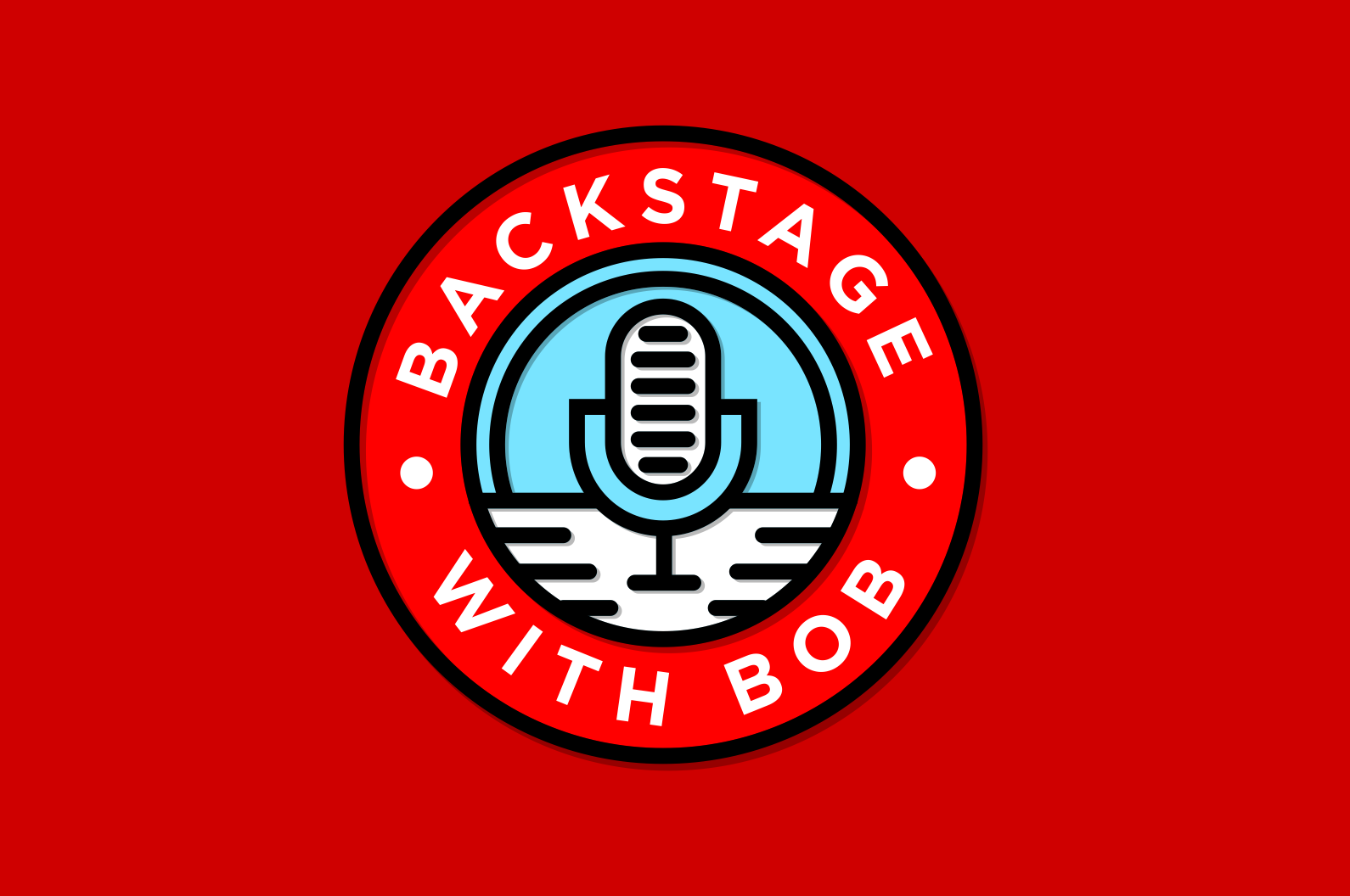 "Round logo featuring a microphone with the text ""Backstage with Bob"""
