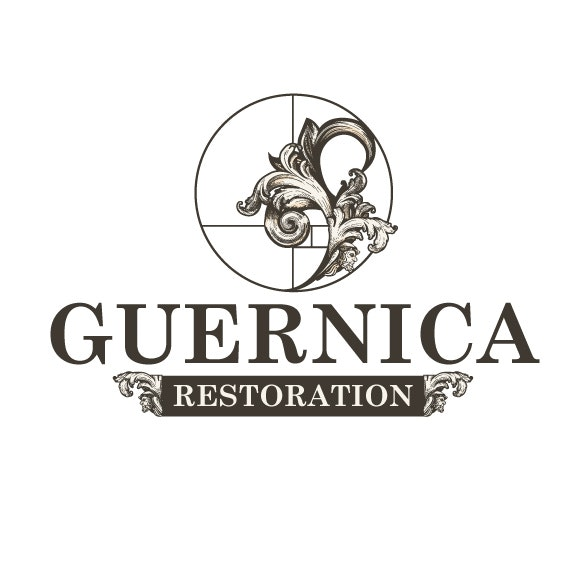 "round logo of a flower curved along the side of a circle and the text ""Guernica Restoration"""