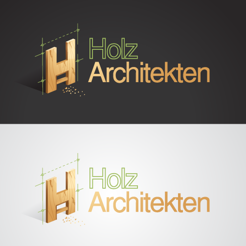 "Letter H designed to look like it's made of wood with the text ""Holz Architekten"""