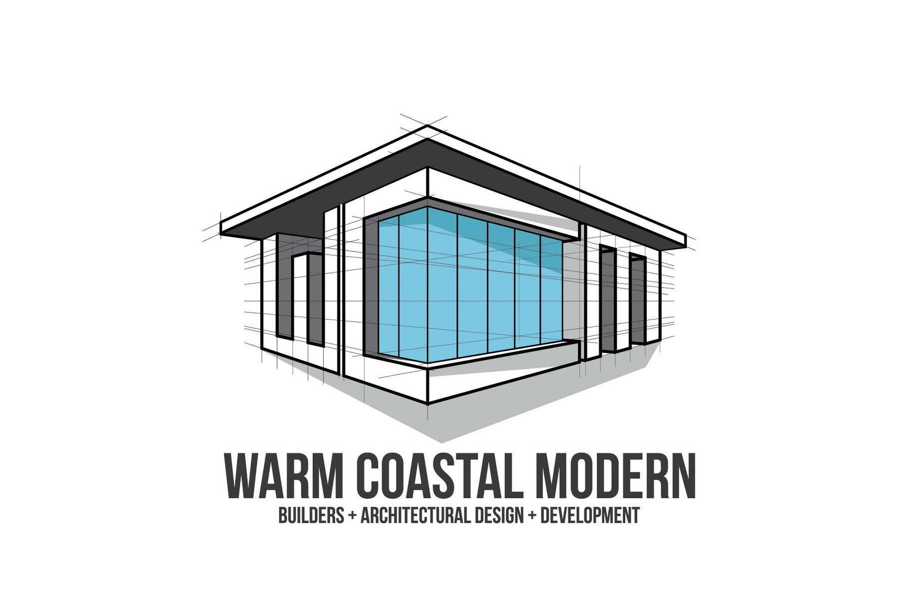 "modern house with the text ""Warm Coastal Modern"""