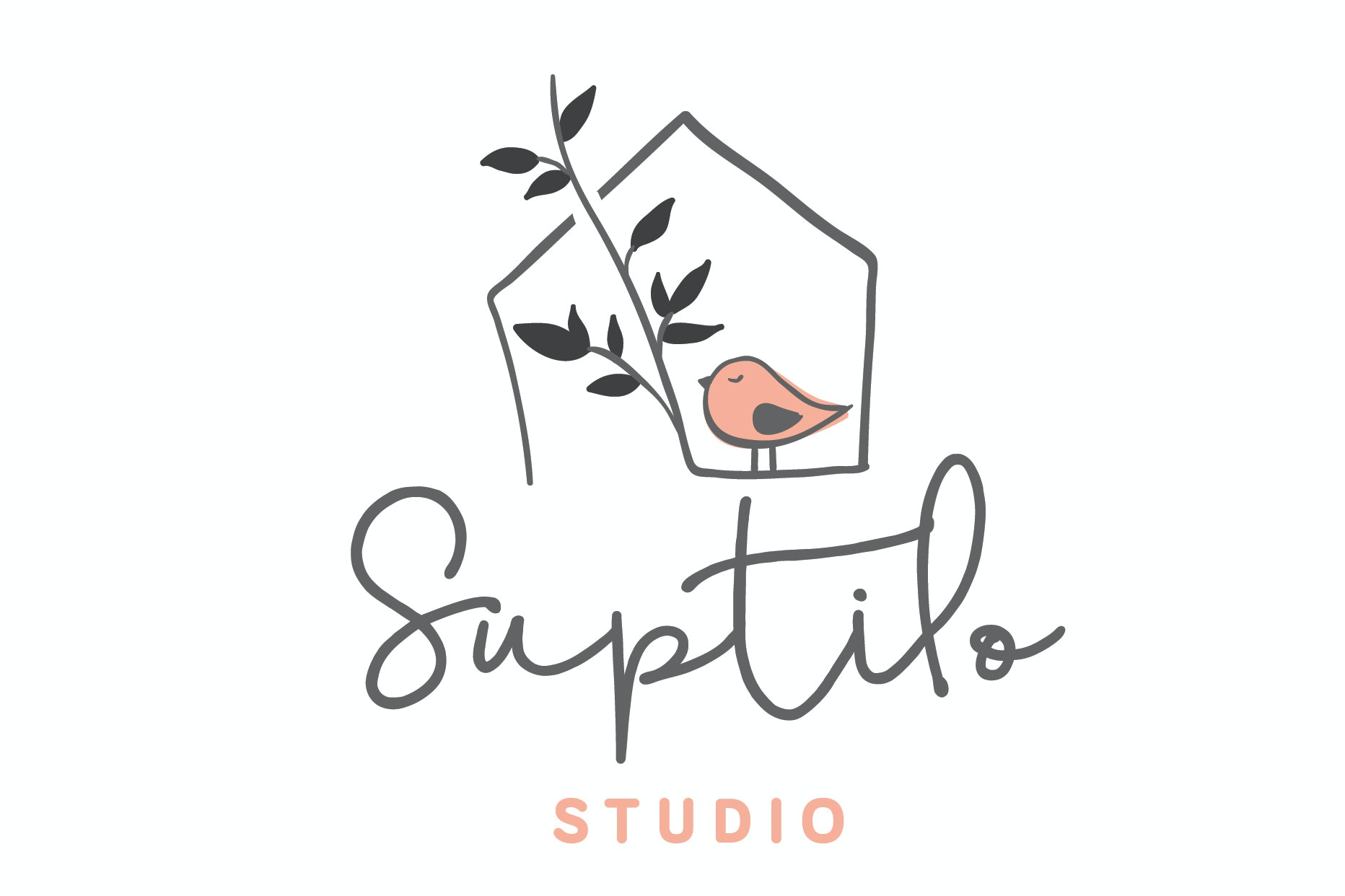 "line drawing of a house with a bird sitting calmly beside a branch and the text ""Suptilo Studio"""